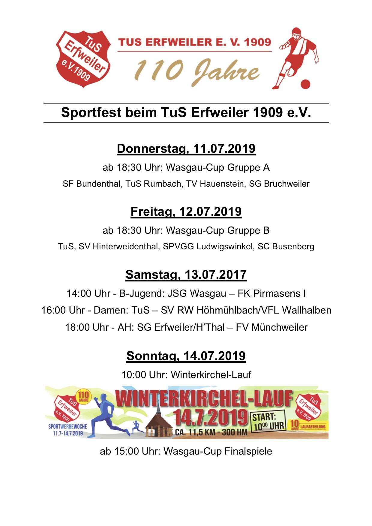 Sportfest Spielplan 2019