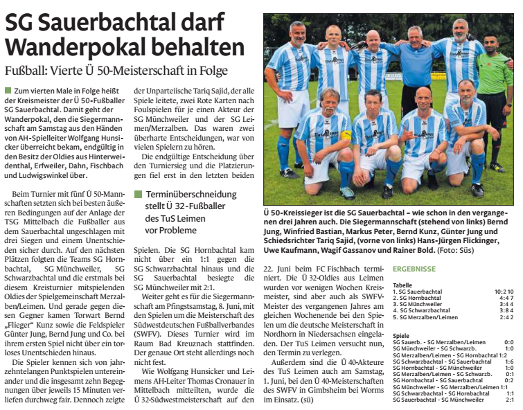 PZ Bericht Ü50 Pokal 2018-2019